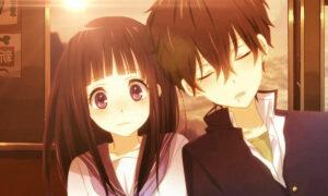 Cena com casal em um anime shoujo