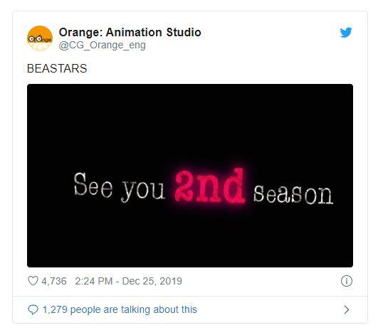 Tweet com BEASTAR: 2ª Temporada Confirmada Pelo Estúdio