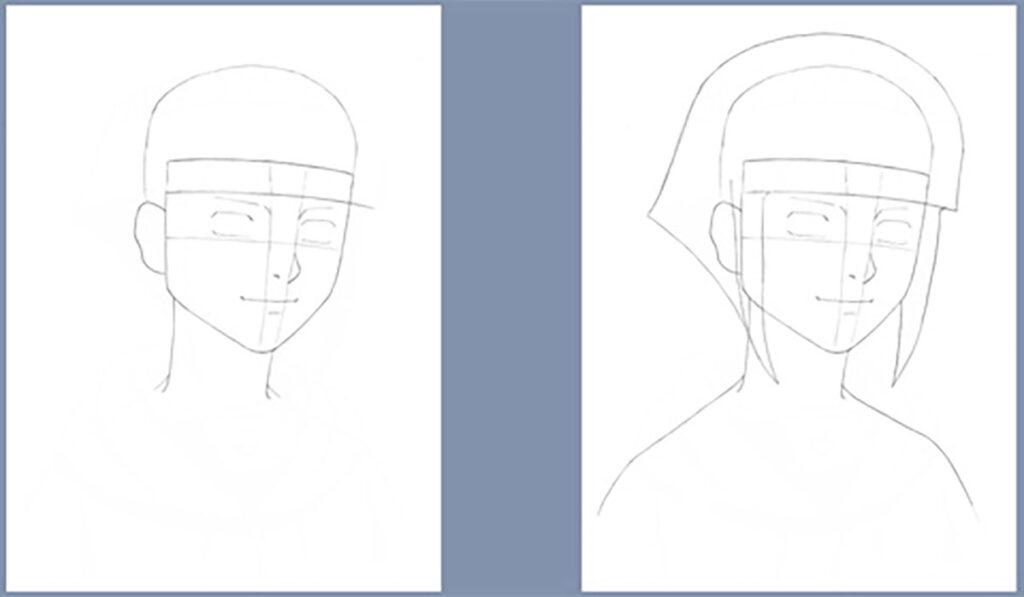 traços para desenhar a Hinata Hyuga